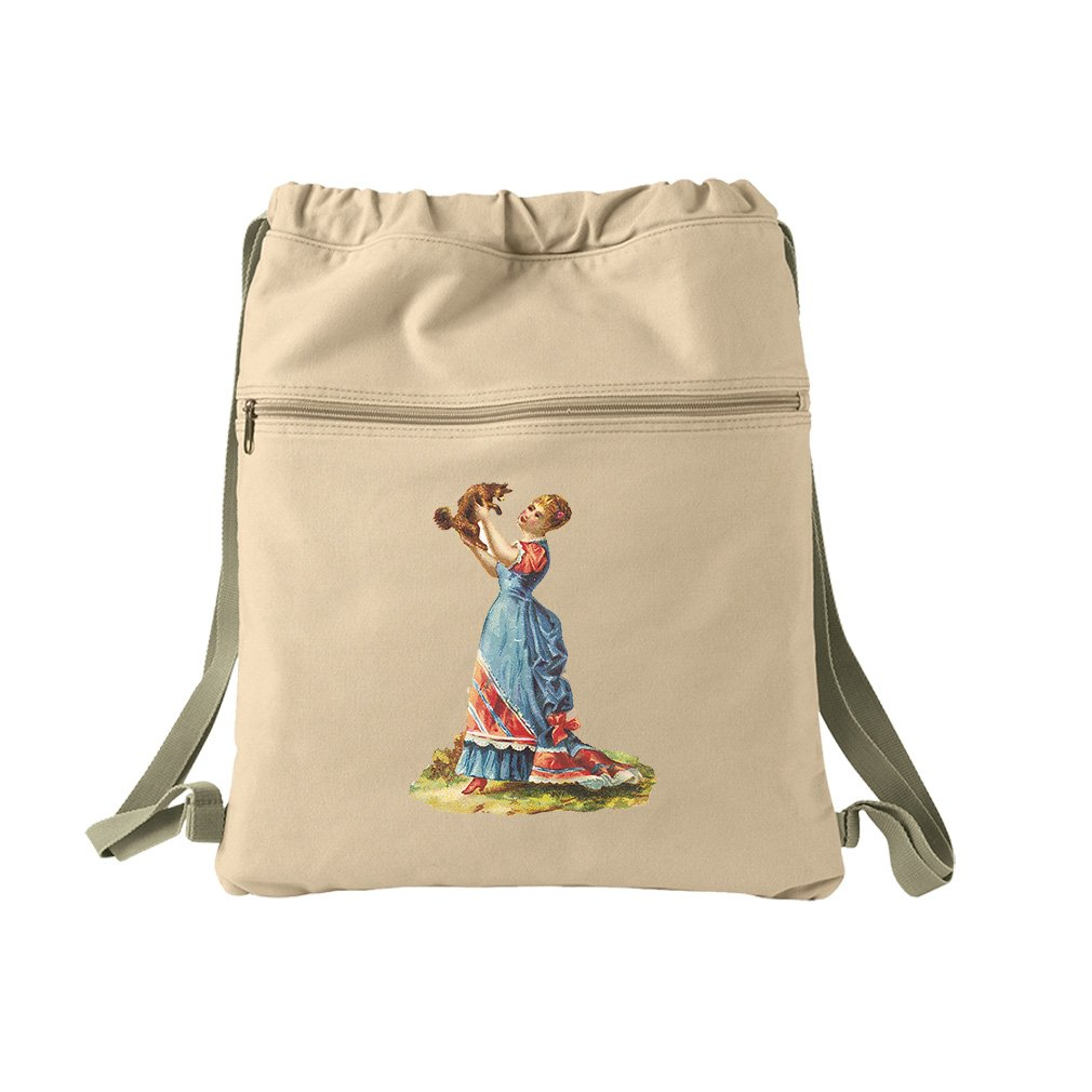 Lady In Blue Dress Is Dog Pets Animals Canvas Dyed Sack Backpack Bag
