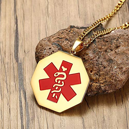 Necklace for Men Free Engraving 35mm Octagonal Medical Alert Notification ID Tag Pendant Necklace for Men Gold Tone Stainless Steel Male Jewelry