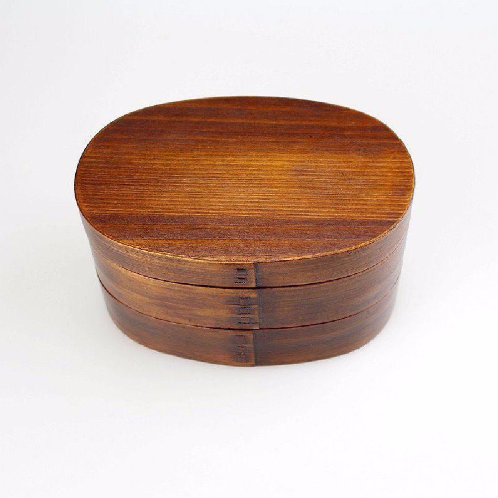 SDKKY Hölzerne doppelten ovalen Sushi-Box, Lunch-Boxen, Lunch-Boxen