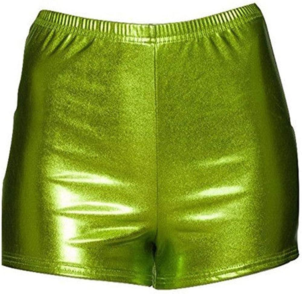 Papaval Girls Foil Metallic Dance Fitness Sports Gym Hot Pants Shorts Size 2-14 Years