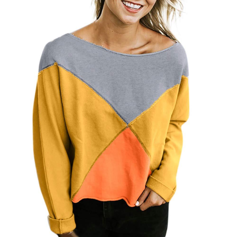 Yvelands Sweatshirts for Women Sudadera con Capucha, Womens Off-Shoulder Blusa Fashion Strapless Patchwork Camiseta.: Amazon.es: Ropa y accesorios