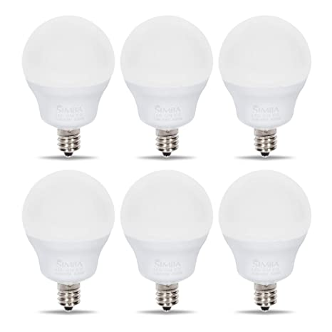 Simba Lighting Led Candelabra E12 Base G14 Small Globe 5w 40w Replacement Light Bulb For Ceiling Fan Chandelier Vanity Round A15 Frosted White