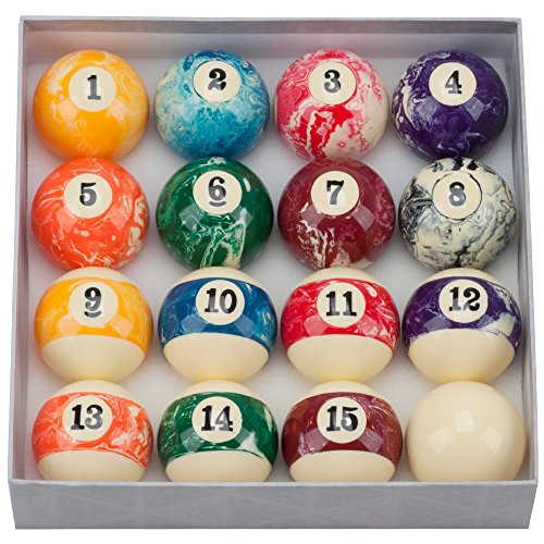 (GSE Games & Sports Expert 2 1/4-Inch Professional Regulation Size Marble Swirl Style Billiard Pool Ball Set (Marble Swirl Style))