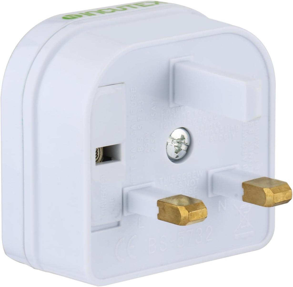Incutex 1x Reisestecker UK GB England Travel Adapter Typ C Eurostecker 2-Pin auf UK 3-Pin Reise Steckdosenadapter wei/ß