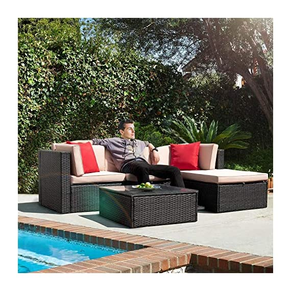 Tuoze 5 Pieces Patio Furniture Sectional Set Outdoor All-Weather PE Rattan Wicker Lawn Conversation Sets Cushioned Garden Sofa Set with Glass Coffee Table (Brown) - Solid & Durable: Outdoor patio furniture sets made of high quality PE rattan wicker which has the advantages of high tensile strength, water resistance, long service life and so on. Solid mechanical structure frames improve stability, which is strong enough to withstand all-weather. Comfortable & Convenient: The thicker sponge cushions and backrests fill with high-density foam, which provide extraordinary comfort while relaxing in your leisure time. The cushion covers are made of superior fabric, which is durable and washable. Special Design: The removable tempered glass adsorbs four suckers to enhance bearing capacity which is easy to clean, and provides much convenience. Foot screws keep the sofas more stable, and which have a super wear resistance. - patio-furniture, patio, conversation-sets - 612pgih94sL. SS570  -