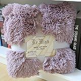 Super Soft Shaggy Long Faux Fur Throw Blanket Solid Decorative, 50x70 inch Polyester by HugeHug (Taro purple, Throw Blanket)