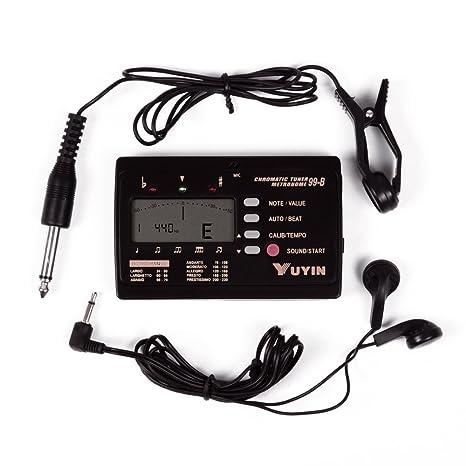 Cromática eléctrica/acústica/Bass Guitar Tuner Metrónomo * Clip de recogida para guitarra acústica