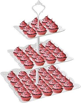 Amazon.com: Soporte para cupcakes, 3 niveles, cuadrado para ...