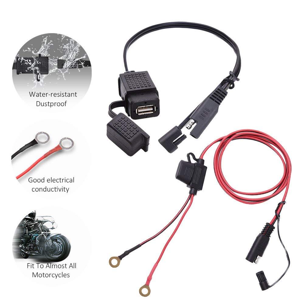 Motorrad 12V SAE auf USB Handy GPS Ladekabel Adapter Inline Sicherung Wasserdicht