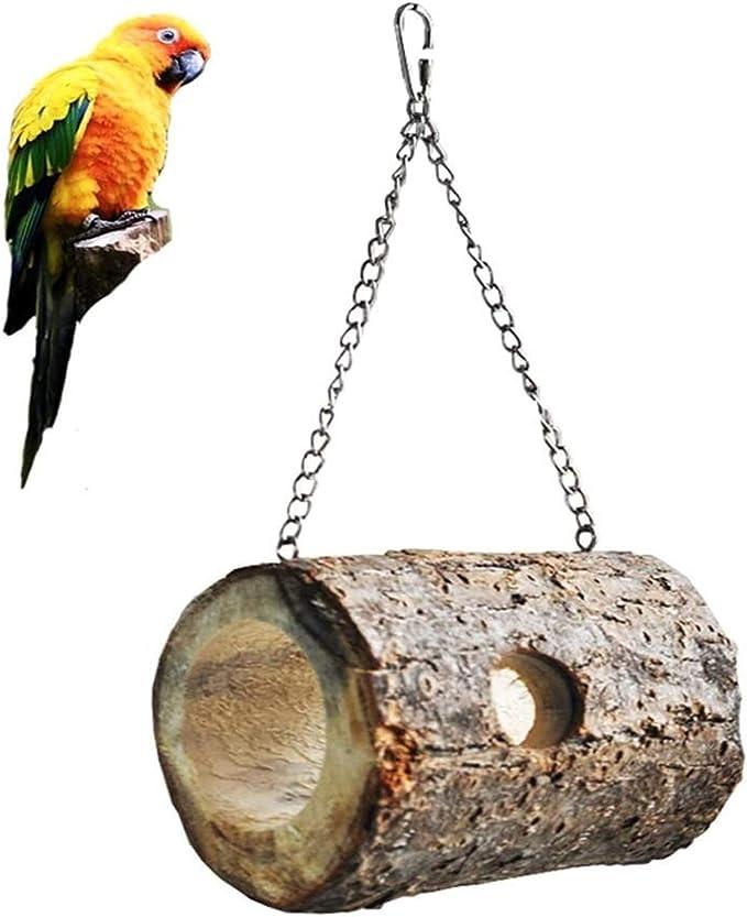 Las jaulas de aves para Budgie y varios pequeños B Nido de pájaro jaula cilíndrica de aves de madera con forma de colgar Diseño Antiguo jaula de pájaro Accesorios Hámster Juguete for mascotas Suminist