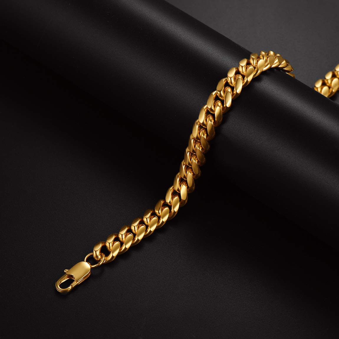 6//9//14mm Width ChainsPro Men Chunky Miami Cuban Chain Necklace with Gift Box Gold//Steel//Black Custom Available 18//20//22//24//26//28//30inch Length