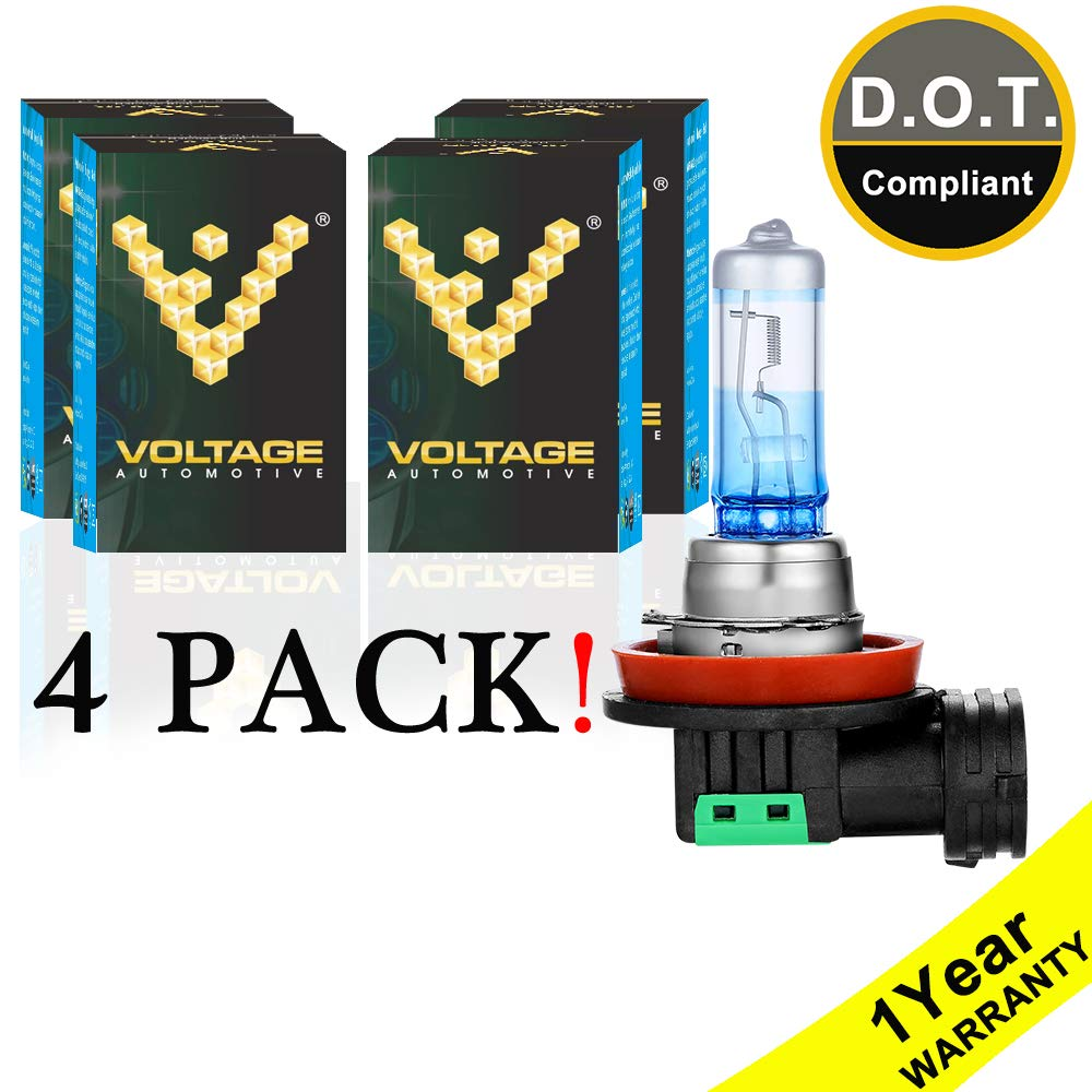 Voltage Automotive H11 Headlight Bulb Night Eagle 40 Percent Brighter Professional Upgrade (4 PACK) - Replacement for High Beam Low Beam Fog Lights