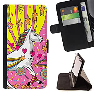 DEVIL CASE - FOR Samsung Galaxy S4 Mini i9190 - Unicorn Dreamworld Colorful Art White Heart Star - Style PU Leather Case Wallet Flip Stand Flap Closure Cover