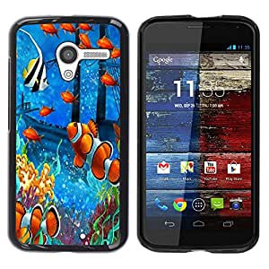 TopCaseStore / la caja del caucho duro de la cubierta de protección de la piel - Fish Painting Underwater Sea Coral Koi - Motorola Moto X 1 1st GEN I XT1058 XT1053 XT1052 XT1056 XT1060 XT1055