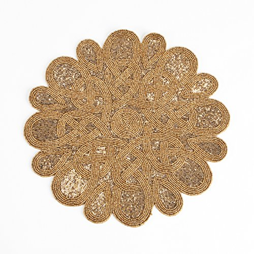 Fennco Styles Sanskrit Handmade Beaded 15-inch Round Elegant Placemat - 1-Piece (Bronze)