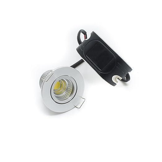 Mini Faretto Led Incasso 3w.Faretto Led 3w Incasso Foro 45mm Spot Cob Orientabile Mini Silver Resa 30w