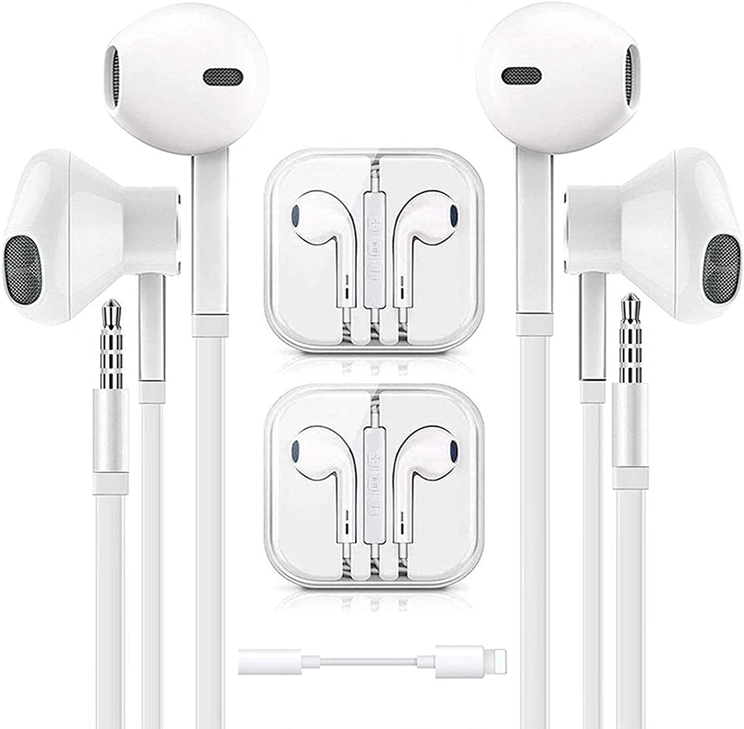 Earbuds, Earphone, Wired Headphones- 3.5mm in-Ear Wired Earbuds with Built-in Microphone & Volume Control Compatible with iPhone 6s plus/6/5s/c/iPad/S10,Android All 3.5 mm Audio Devices (2 Pack)