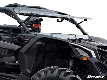 SuperATV Heavy Duty Scratch Resistant Flip Windshield for Can-Am Maverick X3 900 / Turbo