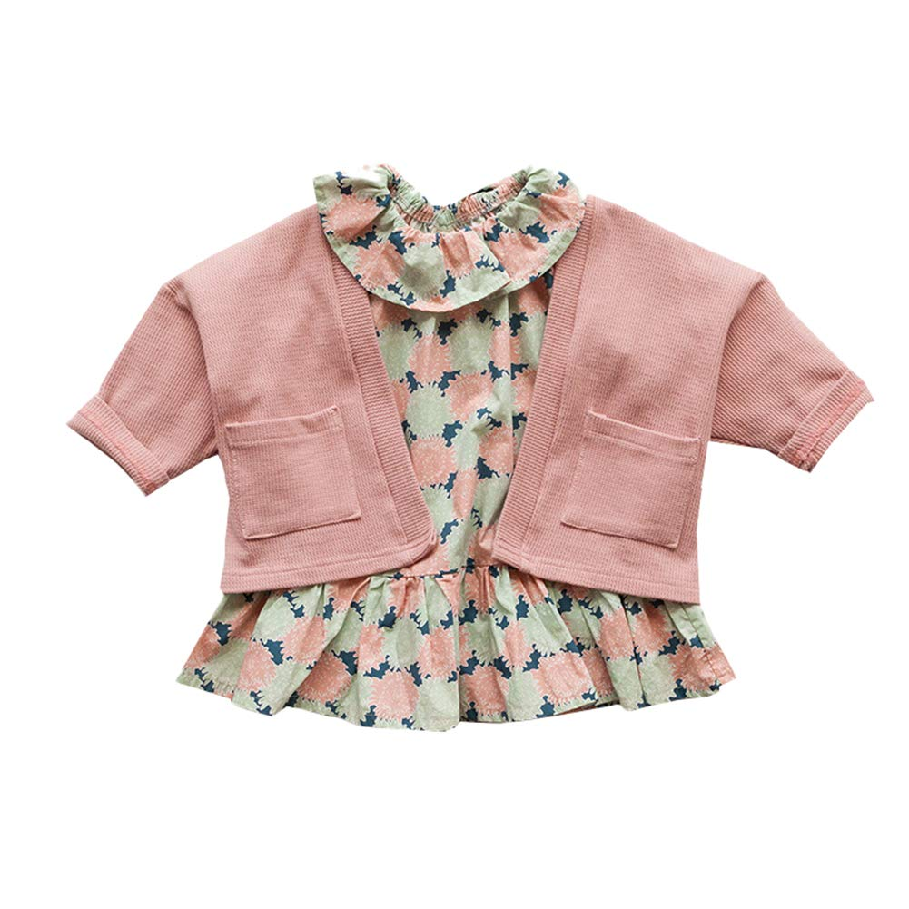 Mornyray Toddler Little Girl Floral Printed Long Sleeve Dress Knitted Cardigan Coat Size 73 (Pink)