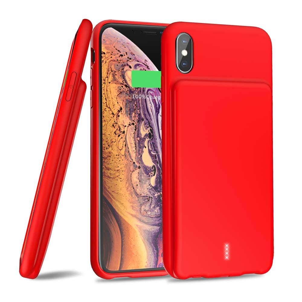 Updated 2019 iPhone XR Smart Battery Case, 5000mAh Portable Protective iPhone XR Charging Case Extended Rechargeable Battery Pack Charger Case for iPhone XR(6.1 inch) (Red) by Samto