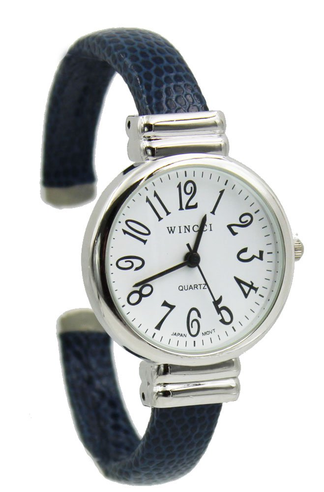 Women's Classic Snake Style Easy Read Bangle cuff Watch-Blue