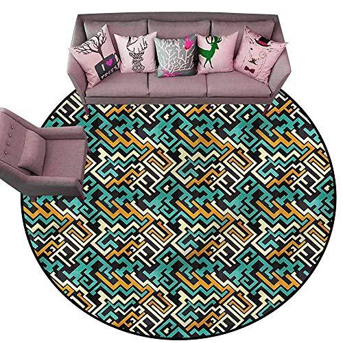 Bedroom Living Room Area Rug Geometric,Surreal Future Lines Diameter 48