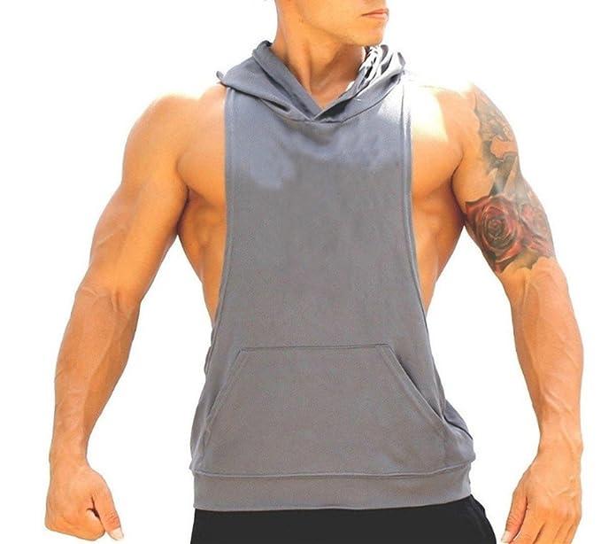 Amazon.com: Q&Y Mens Muscle Cut Bodybuilding Stringer Hoodie Gym Tank Top Racerback Hoodie Tee: Clothing