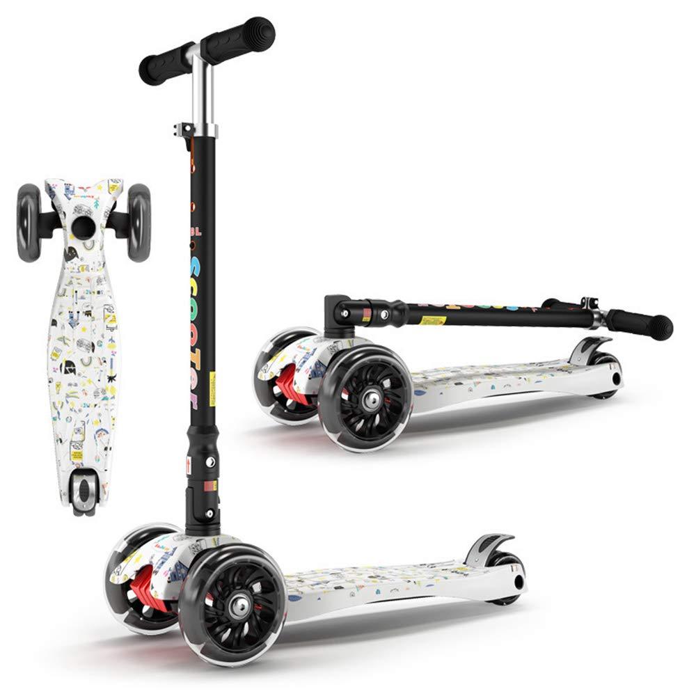 SSLHDDL Scooter per Bambini A Quattro Ruote di Musica Flash Bicicletta Pieghevole Bambino Yo Auto,bianca