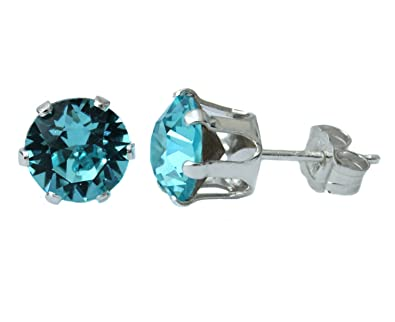 6mm Tanzanite Crystal Stud Earrings Made With Sterling Silver and Swarovski Crystals by Black Moon MEFKi