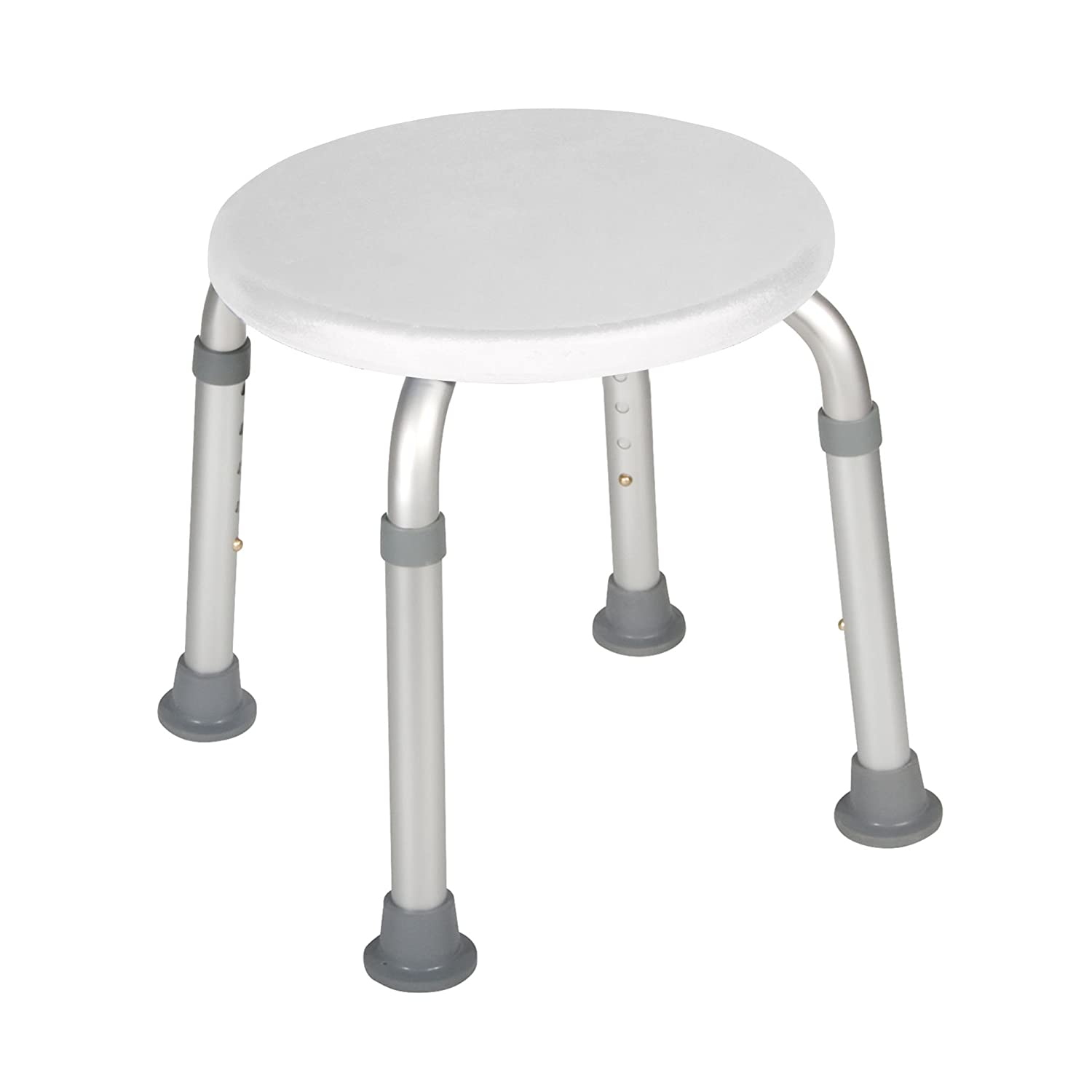Adjustable Height Bath Stool, White Drive Medical RTL12004KD