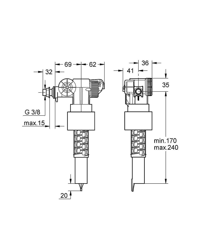 Grohe mecanismo de descarga de flotador pieza separada 37322000