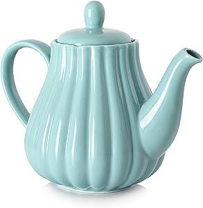 30 Ounce Ceramic Teapot, Pumpkin Fluted Shape, Large Handle for Easy Holding, Dishwasher Safe, Blue