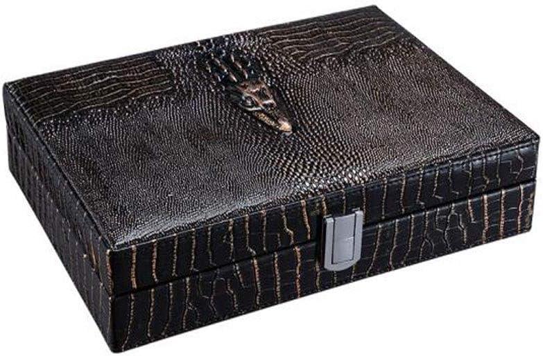 Fengshangshanghang シガーボックス、ヒマラヤスギ材ヒュミドールボックス、喫煙者用の葉巻20本を収納可能葉巻ヒュミドールおよびシガーアクセサリー、ブラックプリントレザー,快適な (Color : Black, Size : 30.8*22.8*6.3cm)