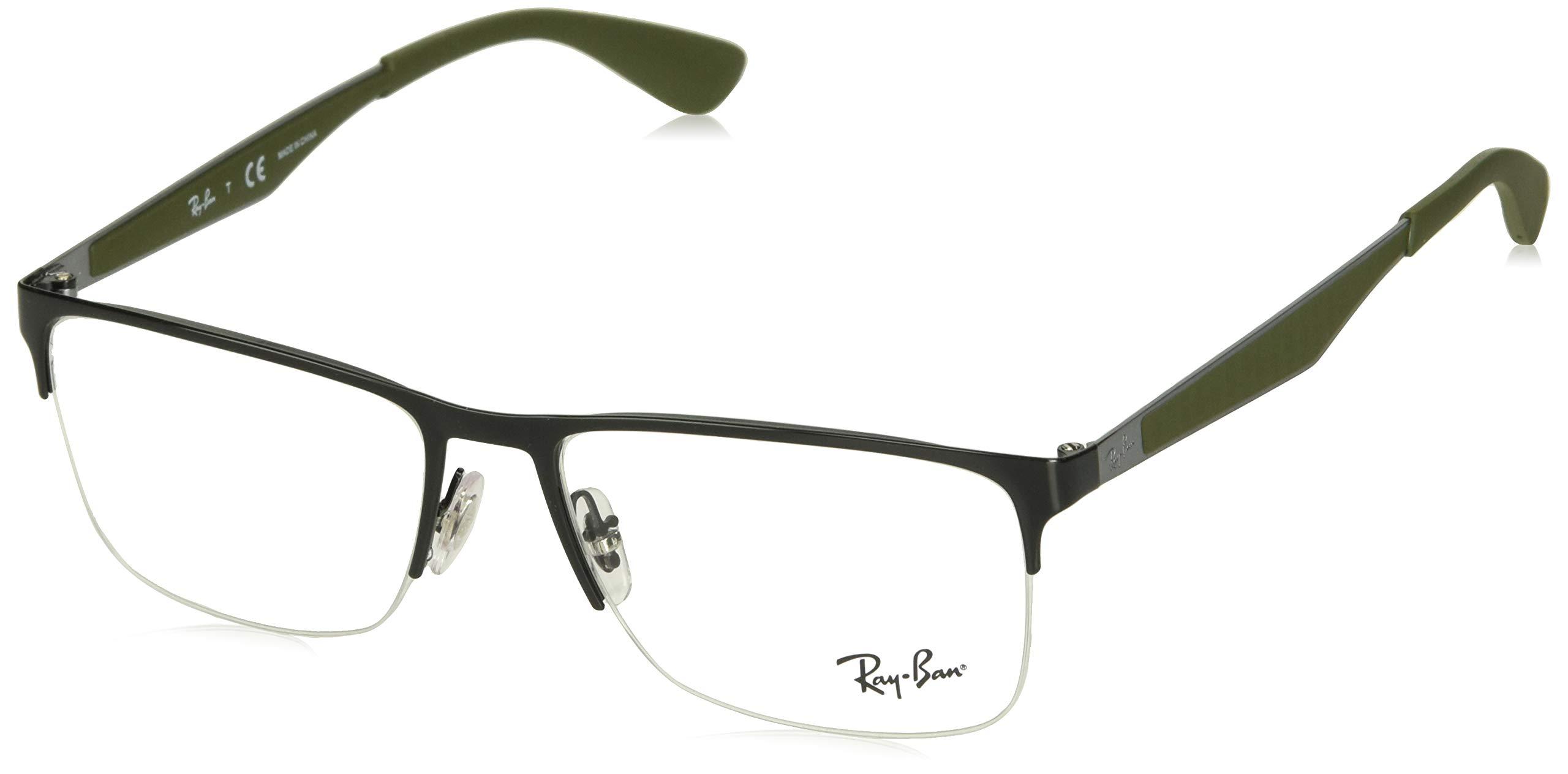RAY-BAN RX6335 Rectangular Metal Eyeglass Frames, Black/Demo Lens, 54 mm by Ray-Ban