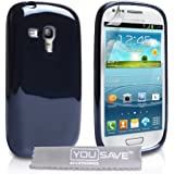Yousave Accessories Glossy Silicone Cover Case for Samsung Galaxy S3 Mini - Black
