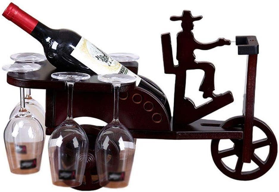 GS Botellero Vino Decoración Porta Botellas De Vino De Madera Forma Triciclo Estantería De Vino con 6 Copas De Vino Estantería De Vino Independiente for La Decoración Casera del Restaurante