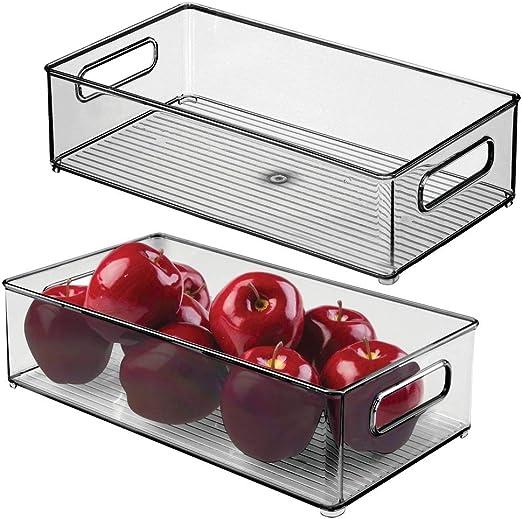 Gris Humo mDesign Caja organizadora con Asas Pr/áctico Organizador de frigor/ífico para almacenar Alimentos Contenedor de pl/ástico sin BPA para los armarios de la Cocina o la Nevera