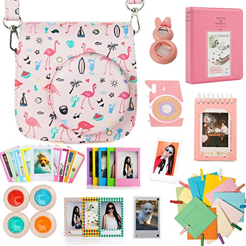 Woodmin 12-in-1 Camera Case Accessories Bundle for Fujifilm Instax Mini 9 8 8+ Camera and films (Flamingo Pink)