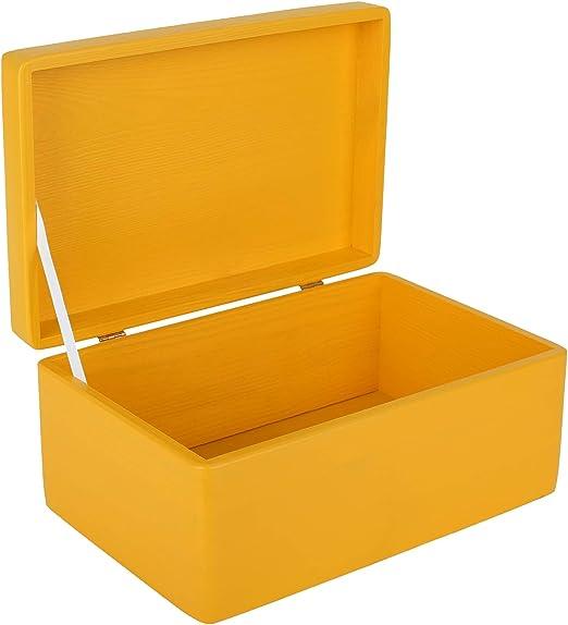 Creative Deco Amarilla Grande Caja de Madera para Juguetes | 30 x ...