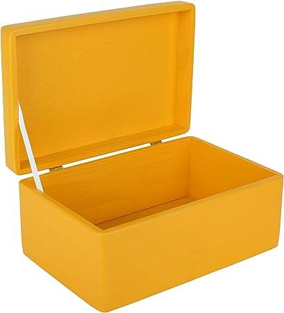 Creative Deco Amarilla Grande Caja de Madera para Juguetes | 30 x 20 x 14 cm (+/-1cm) | con Tapa Cofre para Decorar | para Almacenar Documentos, Objetos de Valor, Herramientas: Amazon.es: Hogar