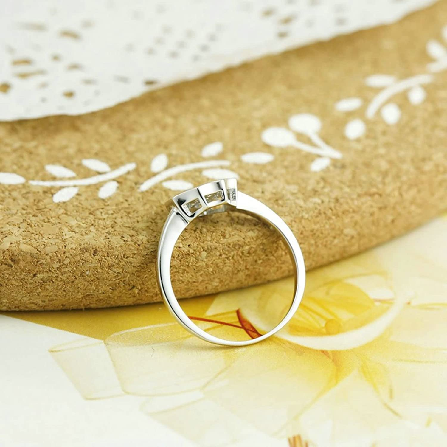 Amazon.com: Daesar Sterling Silver Rings Wedding Bands for Women ...