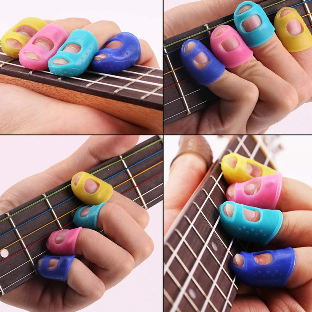 Loneflash Guitar Finger Protectors,4PCS Silicone Guitar Fingertip Protectors Finger Guards For Ukulele Guitar Accessories (Colors At Random)
