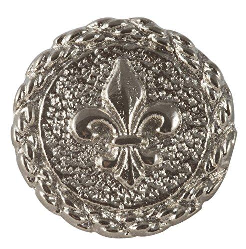 - Fleur De Lis Button. Dull Nickel finish. Size 3/4