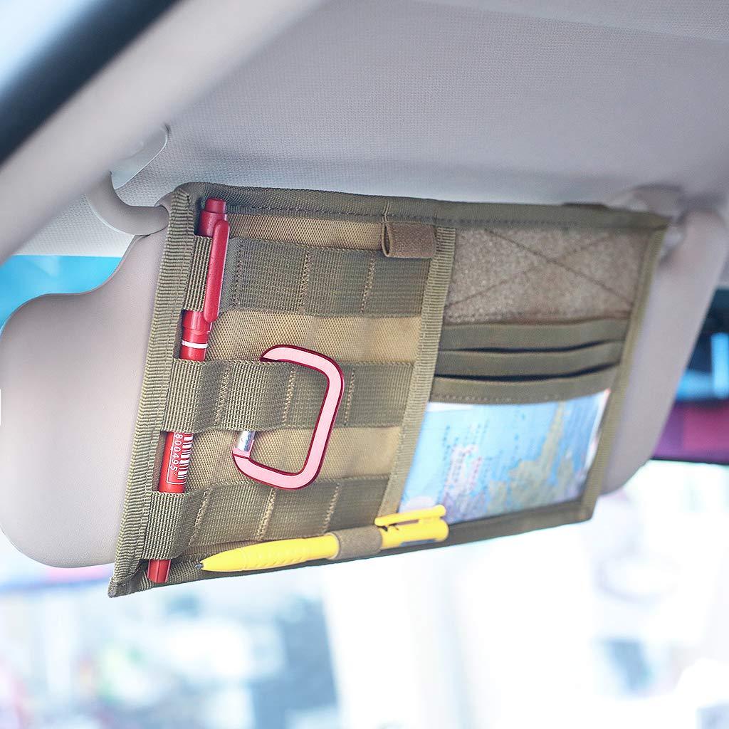 Visor Panel Car MOLLE Visor Organizer Tactical Storage Holder Pouch Bag Tan