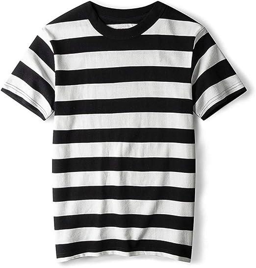 AFCITY Camiseta para Hombre Nueva Camiseta Retro de Rayas de Navi for Hombre Camiseta de Manga Corta con Cuello Redondo de algodón Peinado (Color : C2, tamaño : XL): Amazon.es: Hogar