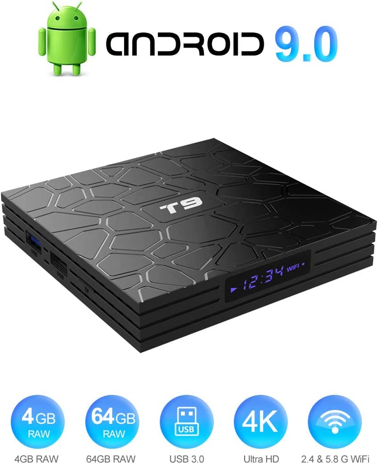 T9 Android 9.0 TV Box Smart Media Box 4GB RAM 64GB ROM RK3318 Quad Core Support Bluetooth 4.0 WiFi 2.4G & 5.8G H.265 4K 3D 100M Ethernet Smart Android 9.0 TV Box