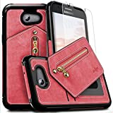 Fly USA Samsung Galaxy J3 Emerge Case, Zizo Nebula Wallet Case w/ [Galaxy J3 Emerge Screen Protector] Zipper Pouch [Military Grade Drop Tested] - J3 Prime