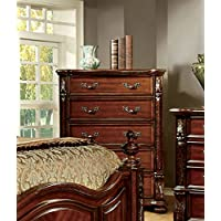 Furniture of America Caldara Traditional Chest of Drawers, Brown Cherry