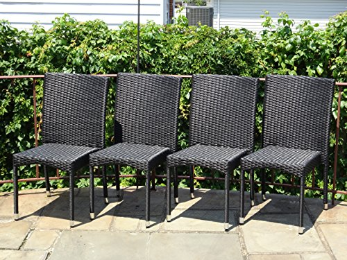 Patio Resin Outdoor Garden Yard Wicker Side Chair Black Color Set Of 4