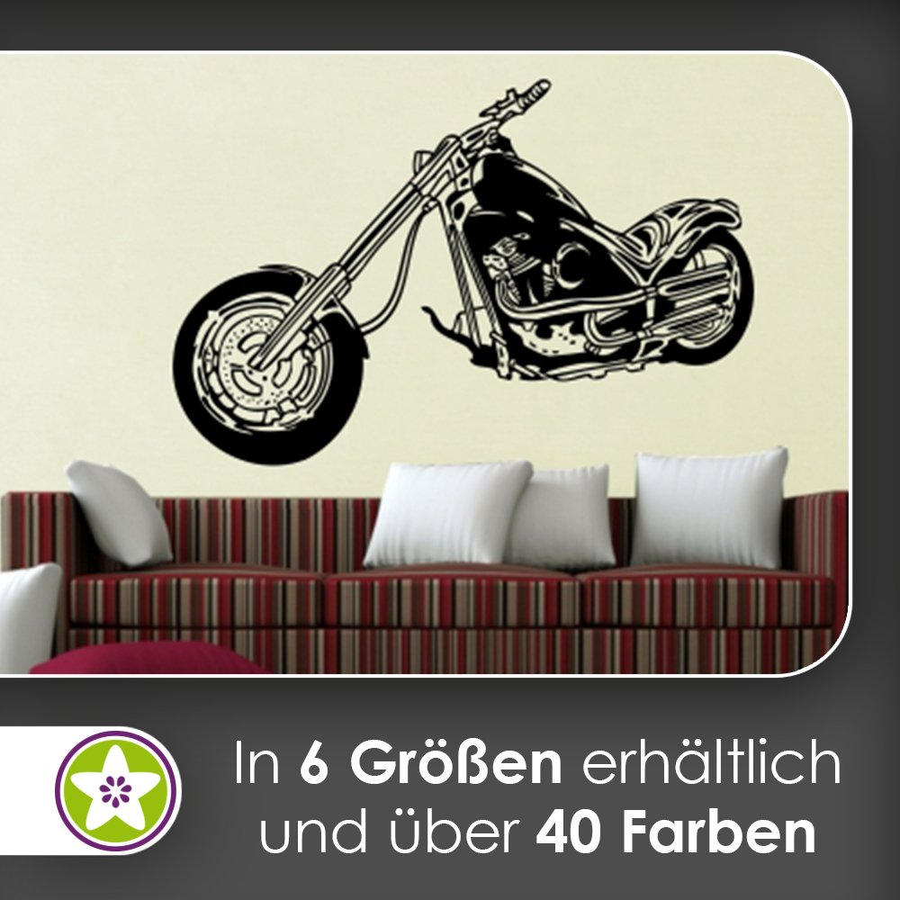 Kiwistar chopper wall stickers wall stickers wall sticker available in 6 sizes 45 hellrosa 120 x 80 cm amazon co uk kitchen home